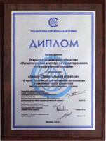 """Диплом """"Лидер строительной отрасли"""" 2010г."""
